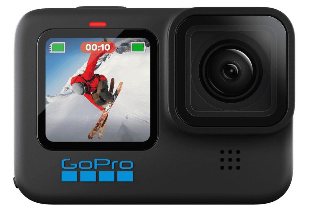 GoPro HERO 10 Black外型與上代雷同,但連電池輕巧了5g,機面同樣配備 1.4 吋彩色屏幕作顯示狀態或取景,不過過Logo就變成了藍色。