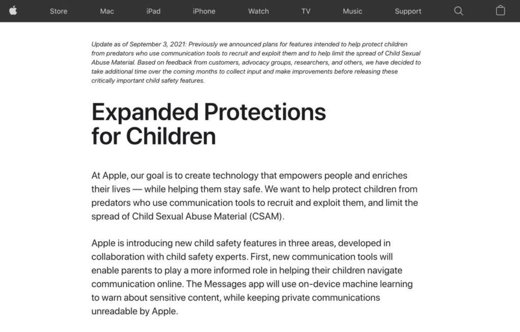 Apple 上周末宣布押後推出保護兒童功能。