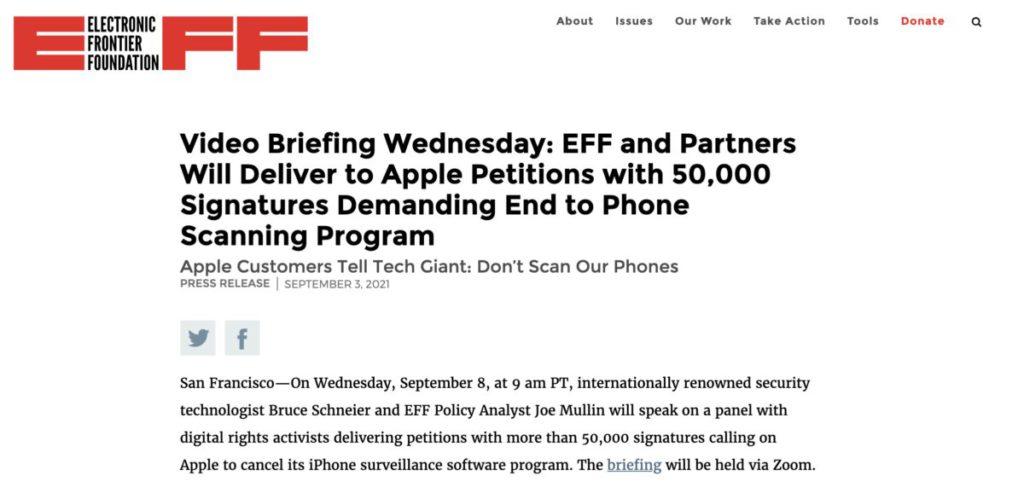 電子前線基金會發起聯署公開信運動,迫使 Apple 押後推出有關功能。