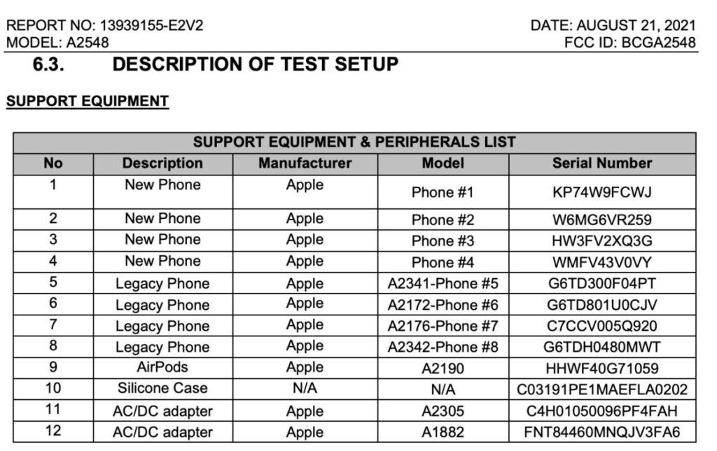 在測試報告文件中,Apple 標出會有 4 款新手機支援那 MagSafe 充電器,並將 4 款 iPhone 12 列為舊手機。