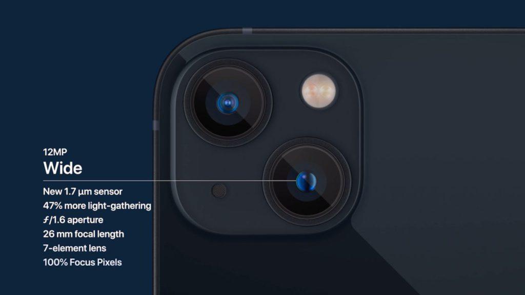 雙鏡頭對角擺放,令到廣角鏡感光元件增大至 1.7𝛍m ,可吸收多 47% 光線。