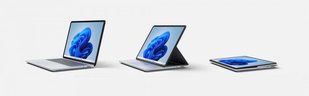 Microsoft Surface Laptop Studio 具備 Laptop (左)、 Stage 和 Studio 三個模式。