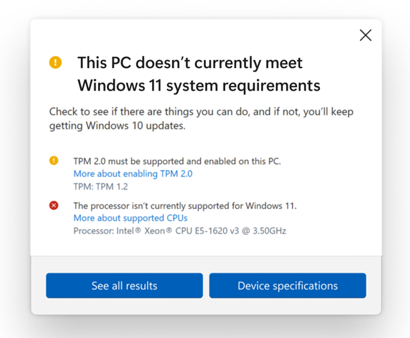更新版「電腦健康情況檢查」程式加入 Win 11 的最終硬件要求。