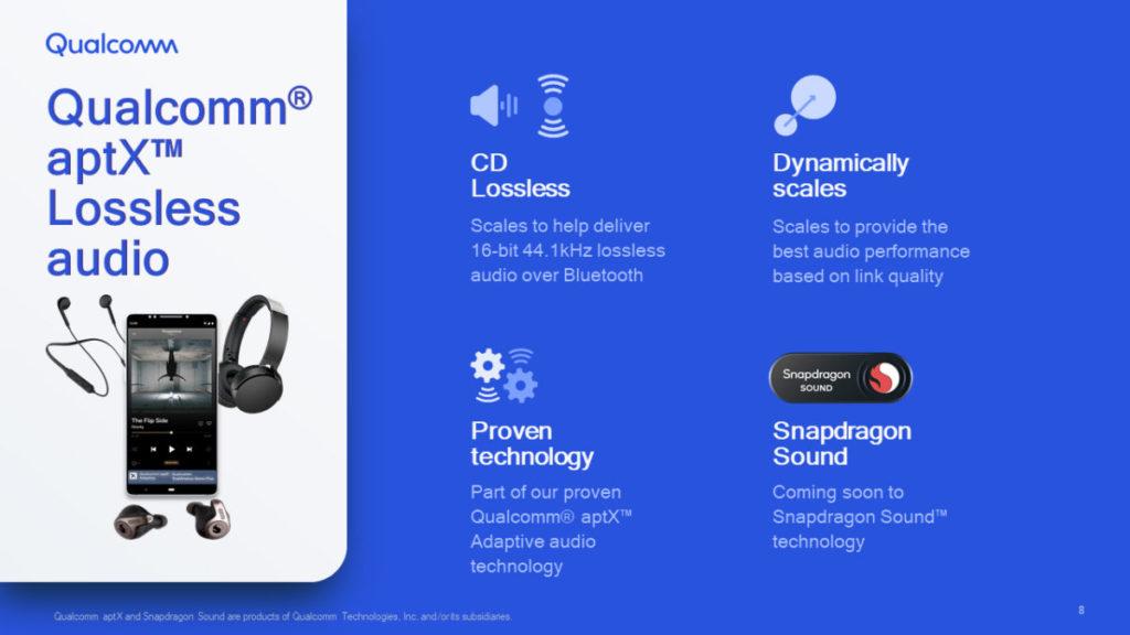 Qualcomm aptX Lossless audio 技術可以讓裝置透過藍牙傳送 16-bit 44.1kHz 無損音頻。
