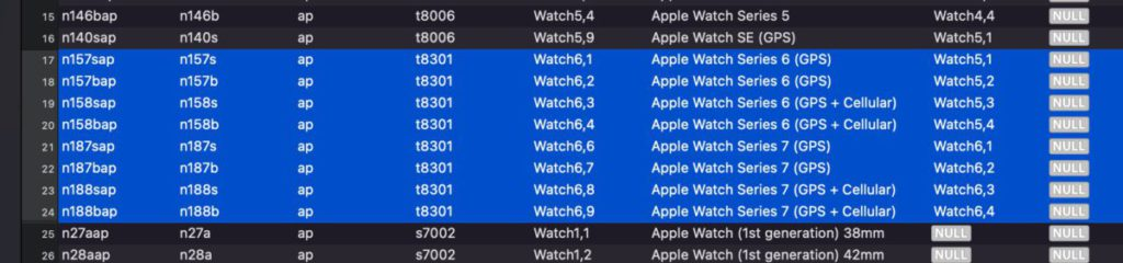 Xcode代碼中看到Series7及Series6同樣使用型號為t8301的晶片