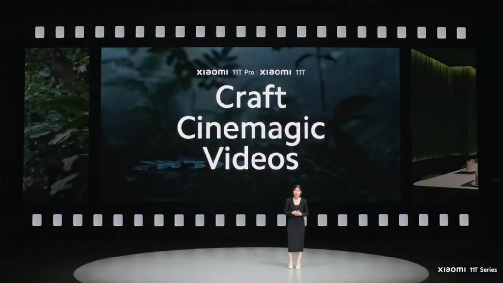 小米11T於拍攝功能上加入了如做出類似Dolly Zoom效果的Magic Zoom功能、一鍵式 AI 影院模式及8K 錄影功能等,當然也有以往的拍攝模式如平行夢境等,將錄影體驗再加強。