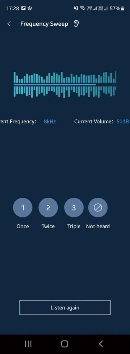 於 Personalized Mode 之中,程式會播放不同 Hz 數聲音,並要選擇聽到多少次,從而設定最合適用戶的 EQ 設定。