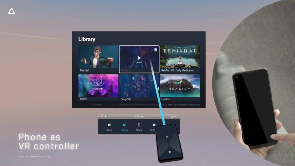 Vive Flow 透過藍牙連接手機作控制器。