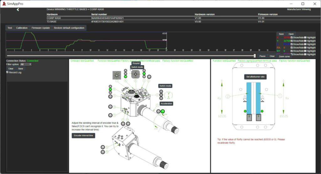 使用從官方網站下載回來的「 SIMAPP Pro 」軟件校正總距桿後,就可以看到能用盡全部行程。