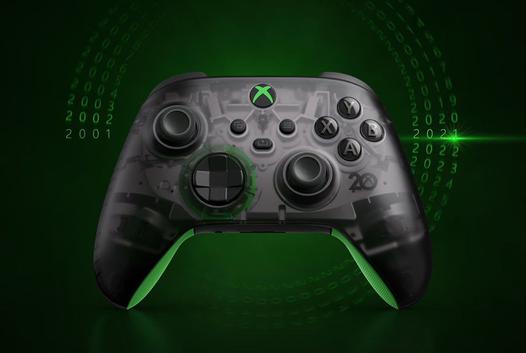 Xbox Wireless Controller-20th Anniversary Special Edition uses a transparent black with silver interior, allowing players to see the internal structure clearly.
