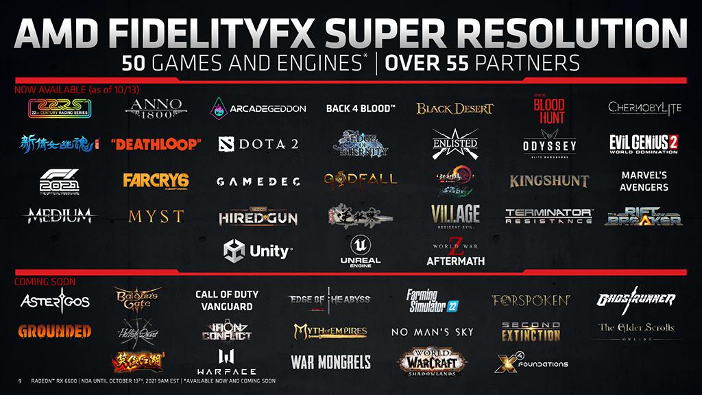 AMD 表示在 RX 6600 推出當天已有 50 款以上的遊戲支援 AMD FSR 技術。