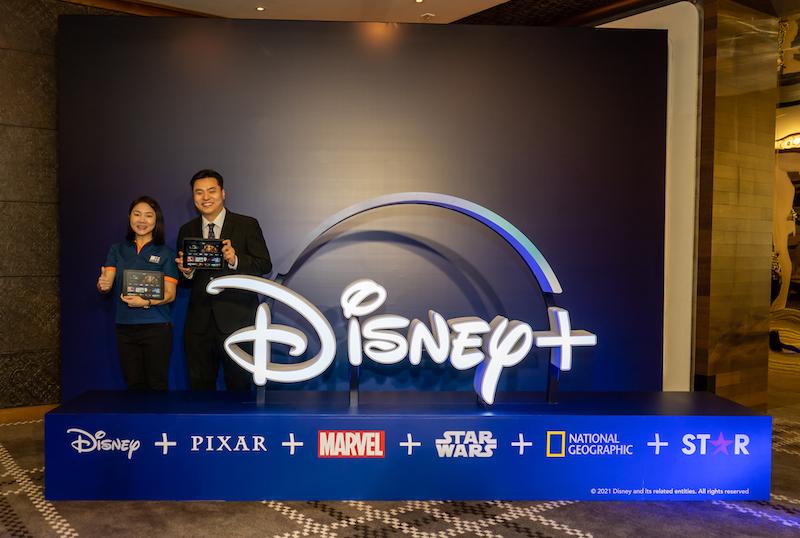 香港寬頻持股管理人及行政總裁-住宅方案蕭容燕與華特迪士尼公司台灣及香港區總經理盧凱恩公布合作計劃。