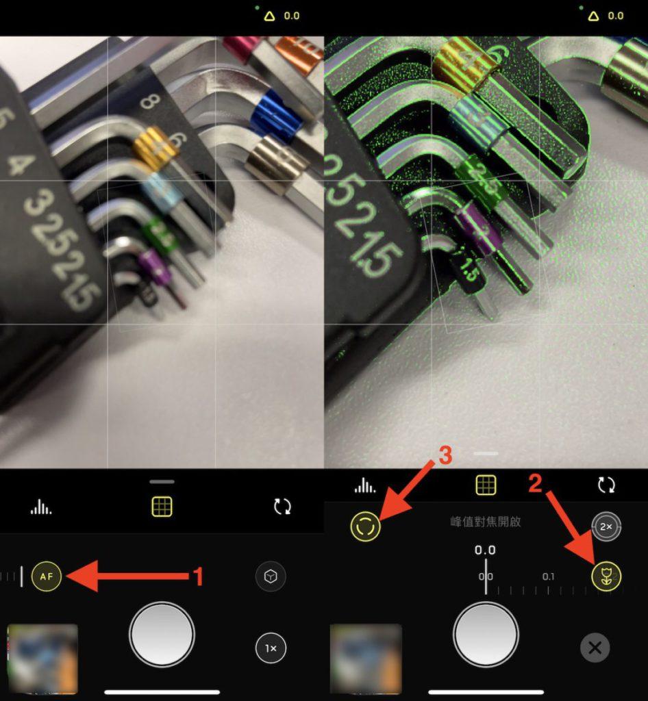 解除 AF 模式(1)後按「花朵(2)」圖示進入微距模式後,中間會顯示毫米級對焦控制介面。開啟「峰值對焦(3)」功能,就能了解哪些地方能保留細節。