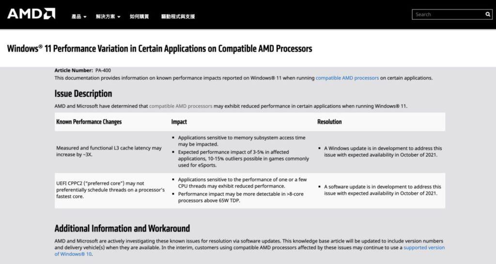 AMD 發出公告指旗下處理器在 Windows 11 下會有效能下降問題。